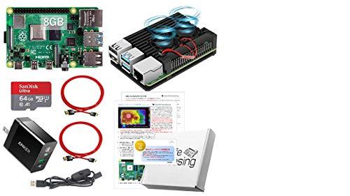 Raspberry Pi 4 アーマード (8GB基盤, アーマーケース(ブラック:FANタイプ), Anker 18W電源, 高速型64GB MicroSD,4K出力用HDMIケーブル2本, スイッチケーブル)