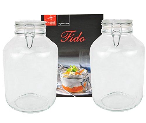Bormioli Rocco Lot de 2bocaux de conservation Fido , en verre, à fermeture à étrier, d'origine, avec livret de recettes (français non garanti), 5l