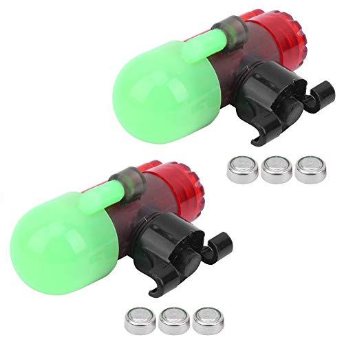 XINMYD Alarma de caña de Pescar, 2 Juegos Sensor de Pesca Nocturna Alarma de caña de luz Tipo de Poste de Bloqueo Sensible a señal LED