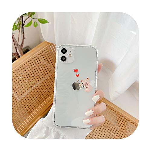 Funda para iPhone 12 Pro Max 11 XS Max XR 7 8 Plus con diseño de oso de dibujos animados divertido para la pareja de fundas de poliuretano termoplástico suave y transparente, funda para iPhone 12
