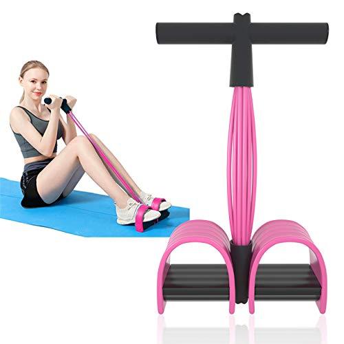 Sit-ups - Fasce elastiche per esercizi fisici, per bodybuilding Expander Bande, elastiche per fitness, con pedali, maniglie in lattice, per allenamenti, palestra, ufficio, colore rosa