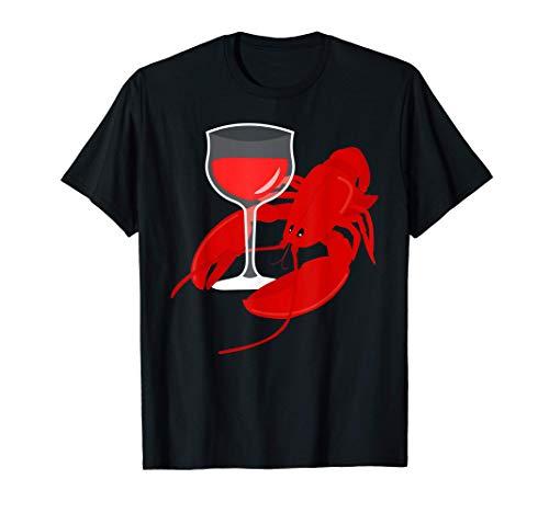Lustiges Gourmet T-Shirt Rotwein Wein Lobster Hummer Dinner T-Shirt