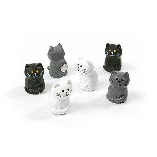 6 x Kühlschrankmagnete Katze 34x22x8mm Magnete für Pinnwand Magnettafel - Magnete für Kühlschrank, Magnetboard, Kinder Magnetwand, Tiermagnete