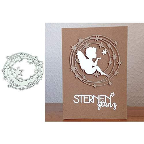 Lai-LYQ Stanzmaschine Stanzschablone, Sternenkreis Hintergrund Scrapbooking Prägeschablonen Festival Karten Foto Handwerk Dekor Geschenk