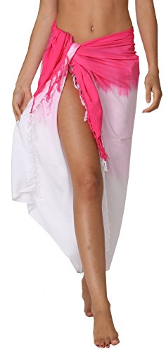 INGEAR Swimwear Long Batik Sarong Multi Wear Pareo Canga Swimsuit Wrap Cover Up (One Size, Pink Fade)
