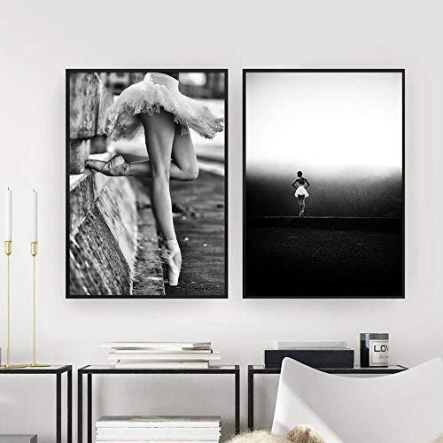 MXK Ballett Tanzen Mädchen Leinwand Malerei Poster Schwarz Weiß Landschaft Kunstdruck Nordische Dekoration Wandbilder für Wohnzimmer Dekor 40x60cm Ungerahmt