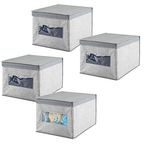 mDesign - Opbergbox - kledingbox/kledingkastorganizer - voor babykamer, kinderkamers, kledingkasten en meer - veelzijdig/met deksel/stof - vierkant - grijs - per 4 stuks verpakt