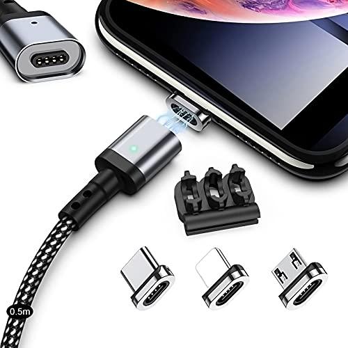 マグネット 充電ケーブル SUNTAIHO 3in1 Mini-USBケーブル【0.5Mx1本セット】QC3.0急速充電とデータ伝送 磁石 磁気 防塵 着脱式 OS用ライト マイクロUSB Type-C コネクタ タイプ-c Micro USB Cable LEDインジケーター付き - SYCX001 (0.5mケーブル&3個マグネット)