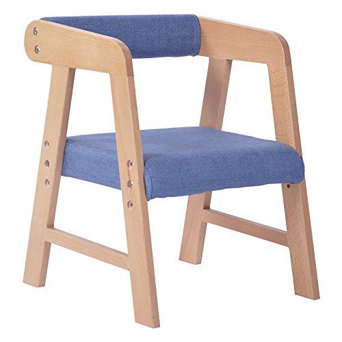 LJHA Tabouret pliable Tabouret créatif/enfants en bois massif fauteuil/tabouret d'étude réglable/tabouret de jardin d'enfants chaise patchwork (Couleur : Bleu)