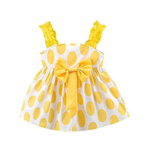 Ropa Bebe Niña Verano Vestido sin Mangas con Lazo Lunares con Estampado de Lunares para niños Honda Arco Vestido de Princesa (6Mes-3 Años) riou