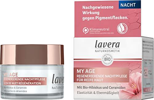 lavera MY AGE Regenerierende Nachtpflege, mit Bio-Hibiskus und Ceramiden pflanzlichen Ursprungs, mindert Pigmentflecken, für reife Haut, zertifizierte Naturkosmetik, vegan, 50 ml 110658