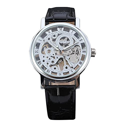 SUYANG Mirando A Las Mujeres Relojes Impermeables Relojes Mecánicos Mujer Hueco Automático Mecánico Impermeable Reloj De Pulsera (Plata + Negro)
