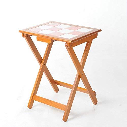 FTFTO Productos para el hogar Mesa Plegable Madera Maciza Mesa de Comedor pequeña portátil Escritorio de computadora Escritorios de 530 * 700 mm