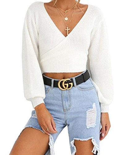 Alessioy Suéter con cuello en V para damas, adolescentes y niñas, manga larga, abrigo a la moda, para vivir, corbata, suéter de manga larga