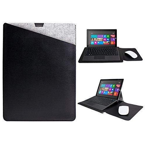 WALNEW Microsoft Surface Pro 3/4/5/6/7 12.3 Zoll Schutzhülle, Hülle, Case, Cover, mit Zwei-Taschen-Design mit Geschütztem Inneren & Externem Mousepad