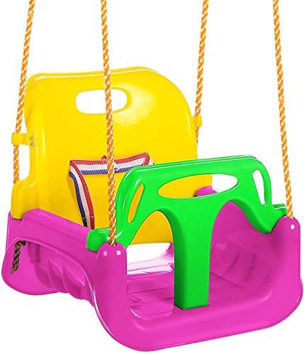 IFOYO - Asiento de columpio para niños, 3 en 1, asiento de columpio seguro, asiento de columpio desmontable con respaldo alto, para patio de recreo, interior y exterior, color rosa