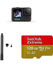 GoPro HERO9Black - Fotocamera sportiva impermeabile con schermo LCD + El Grande Asta di prolunga da 38-97 cm, Nero + SanDisk Extreme Scheda di Memoria microSDXC da 128 GB e adattatore SD