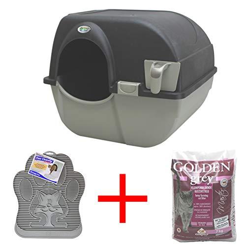 Omega Paw Roll \'n Clean Katzentoilette Katzenklo selbstreinigend Large + Katzenmatte + 7kg Streu, Farbe:Schwarz