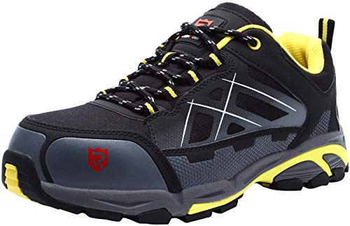 LARNMERN Zapatos de Seguridad con Punta de Acero S3 SRC,LM-201,Hombres Anti-aplastamiento A Prueba de Pinchazos,Zapatillas Industriales y de Construcción Antiestáticos, Negro, Talla 42 EU