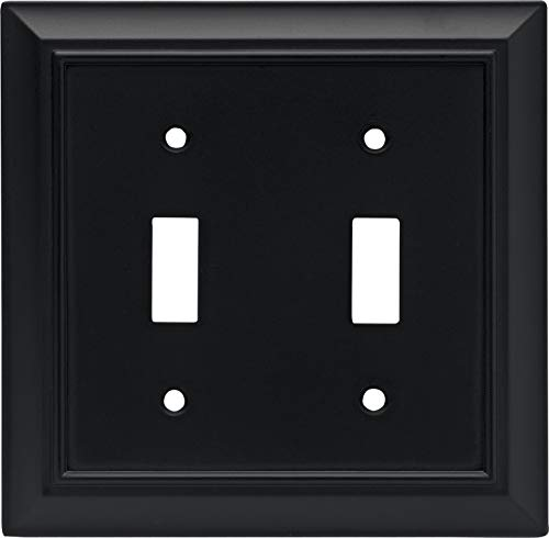 Architectural Double Toggle Switch Wall Plate / Switch Plate / Cover, Flat Black, Packaging May Vary