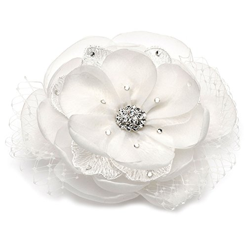 Lace and Fabric Flower Clip with Rhinestones