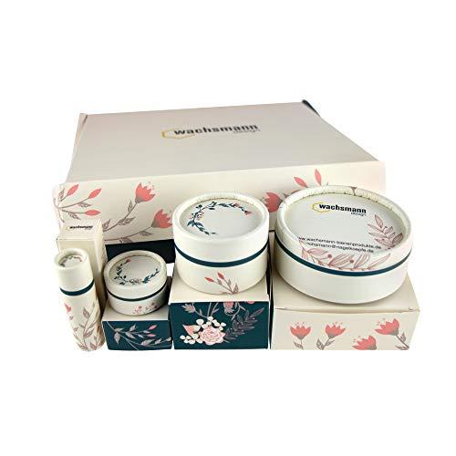 Wachsmann | Hochwertige Papp-Tiegel & Lippenstift-Hülsen | Für nachhaltige DIY-Naturkosmetik | Mit Geschenkverpackung | Lippenpflege- und Creme selber machen (Tiegel & Hülsen Set | Mix)
