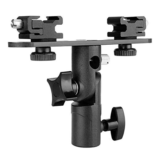 Tuimiyisou Soporte de aleación de Aluminio de Doble Flash Soporte de Flash de la cámara, con 1/4 a 3/8 del Paraguas del Soporte del Negro