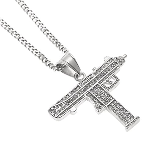 Usstore 1PC Men's Personality Necklace Diamond Hip Hop Style Pendant Cuban Chain Jewelry Gift (Silver)