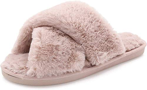 AONEGOLD Pantofole da casa per Donna Warmer Peluche Pelliccia Flip Flops Pantofole Antiscivolo Scarpe per Autunno/Inverno(Rosa,38-39 EU)