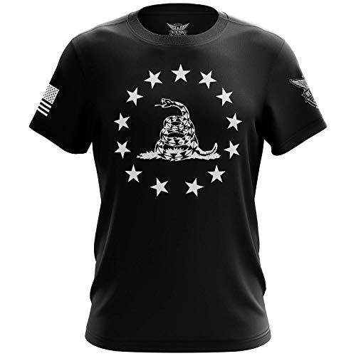 We The People Holsters - Betsy Ross Gadsden Flag - 1776 T Shirt - Short Sleeve T Shirt - Gadsden Flag Shirt - American Flag Patriotic Shirt - Black - L