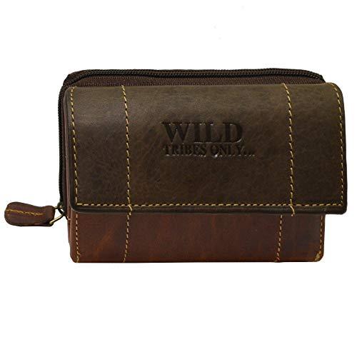 Portemonnaie Damen Wild Leder Geldbeutel in 6 Farben mit RFID Schutz (Dunkelbraun/Hellbraun)