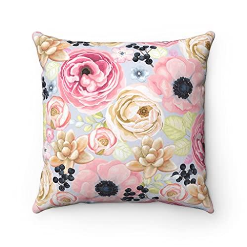 Promini Hermosas fundas de almohada de flores rosas, cojines suculentas, fundas de cojín con cierre de cremallera oculta para sofá, banco, cama, decoración del hogar de 60 x 60 cm