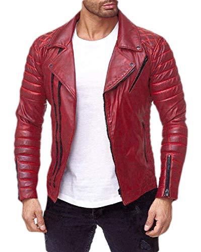 security Herren Lederjacke Slim Fit Classic Casual Leder Motorradjacke Gr. US L, rot