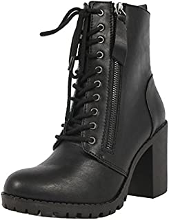Soda Women's Malia Combat Boot (Black, Numeric_6)