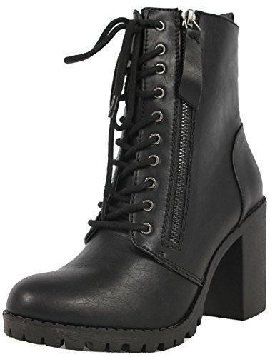 Soda Women's Malia Combat Boot (Black, Numeric_7)