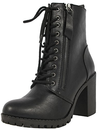 SODA Women's Malia Faux Leather Lace Up Chunky Ankle Boot,Color:Black,Size:9