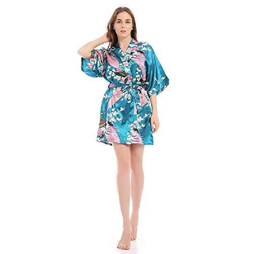 Pijama Corto de Pavo Real Sexy Cardigan Albornoz camisón simulación Mulberry Seda camisón explosión Femenina