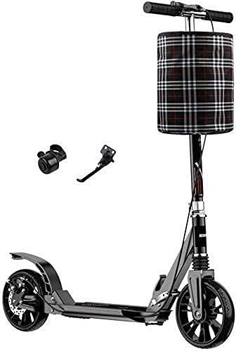 monopatín Patinete Scooter de Patada Ligera, Rueda Grande de 200 mm, Sistema de suspensión Dual Delantera y Trasera, Scooter de Empuje con Cesta de Almacenamiento y Campanas (Color : Black)