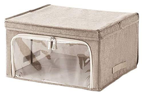 Aufbewahrungsbox mit Deckel, großer leichter faltbarer oldbarer stapelbarer tragbarer Imitation Baumwollbehälterbehälter mit Griffen Bettwäsche 1217 (Color : Linen)