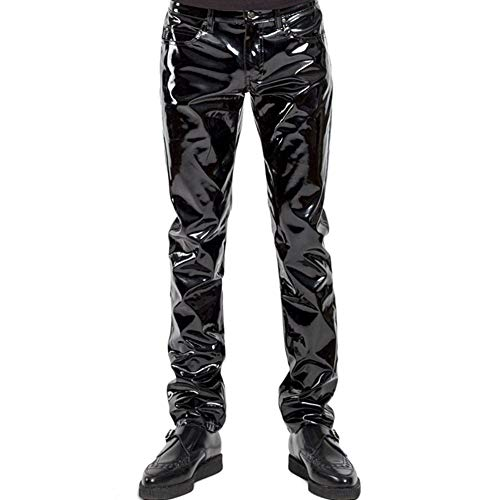 Nekoki Herren Lackleder Lange Hosen Lederhose PU Leather Pants Leder Lacklederhose Herren Faux Leder Trousers Motorrad Biker Hose Leather Pants Herrenhose (S)