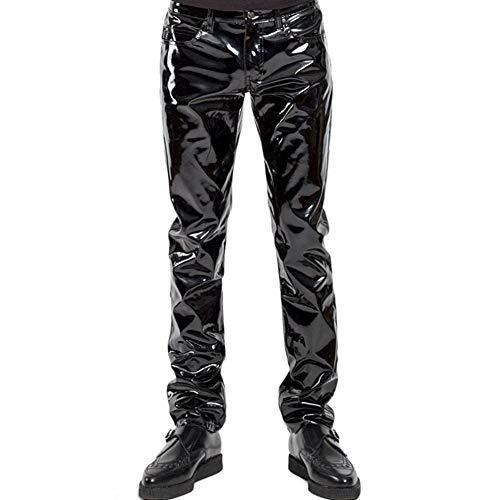 Nekoki Herren Lackleder Lange Hosen Lederhose PU Leather Pants Leder Lacklederhose Herren Faux Leder Trousers Motorrad Biker Hose Leather Pants Herrenhose (Large)