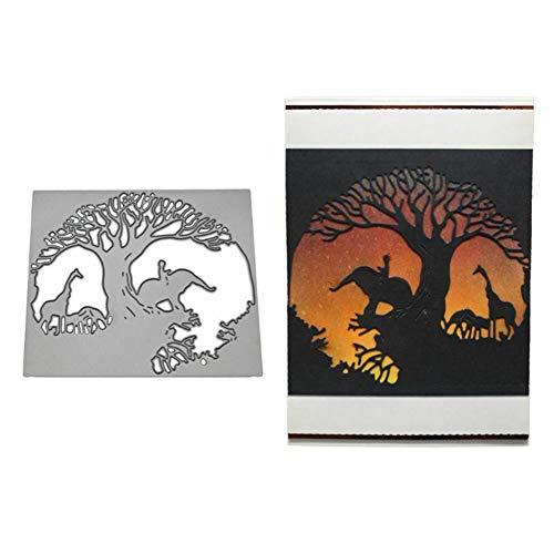 Stanzformen Elefant Giraffe Metall DIY Scrapbooking Karten Album Foto Schablone – Silber