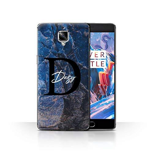eSwish Personalisiert Individuell Mode Marmor Stein Hülle für OnePlus 3/3T / Blauer Perlen Ranit Design/Initiale/Name/Text Schutzhülle/Case/Etui