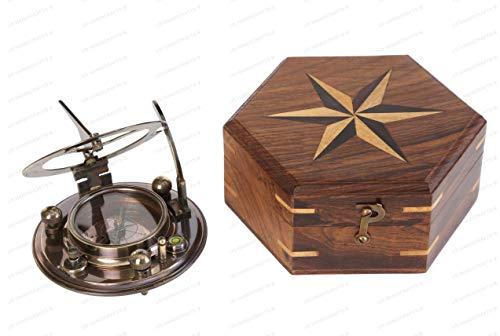 US HANDICRAFTS - Brújula de latón con reloj solar magnético direccional/brújula para navegación/reloj solar brújula para camping, senderismo, touring.......