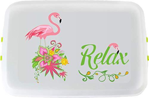 Biodora Lunchbox aus Bioplastik 18x12x5 cm 600 ml (Flamingo, 12 x 18 x 5 cm)