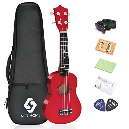 NOT HOME Soprano Ukulele Beginner Pack, 21 Inch Basswood kids Ukuleles Starter Kit with Gig Bag Digital Tuner Spare Strings and Picks. (red)