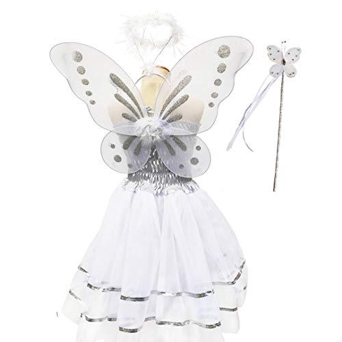 Tante Tina Disfraz de hada de mariposa para niña, 4 piezas, con vestido de tul, alas, varita mágica y diadema, adecuado para niños de 2 a 8 años, color blanco
