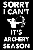 Sorry I Can't It's Archery Season: This is a Funny Gift For People Who Loves Archery, This Cute (Sorry I Can't It's Archery Season....) Lined journal ... Perfect Gifts For Sports Lover Dad, Mom