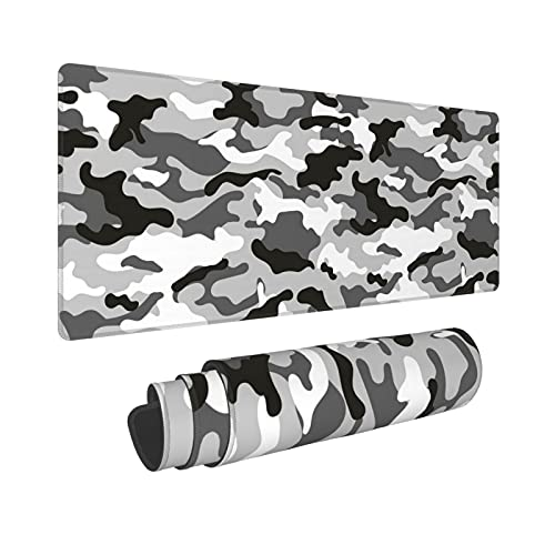 Grey Black and White Large Gaming Mouse Pad XL Camo Camouflage Desk Mat Long Extended Mousepad Nonslip Rubber Base Stitched Edges Mice Pads 31.5'' X 11.8''