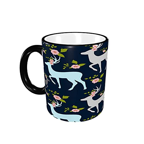 Taza de café de Dibujos Animados de Ciervos de Navidad Tazas de café Lindas Tazas de cerámica con Asas para Bebidas Calientes - Cappuccino, Latte, Tea, Cocoa, Coffee Gifts 12 oz Black